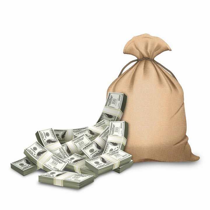 装满美元的麻袋钱袋子png图片免抠矢量素材