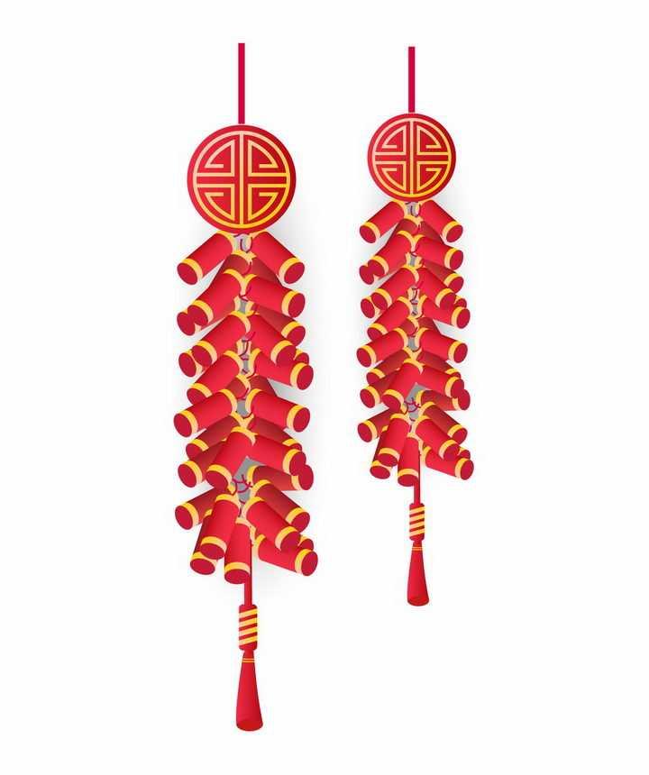 两串简约风格的红色鞭炮新年挂饰装饰图片免抠AI矢量素材