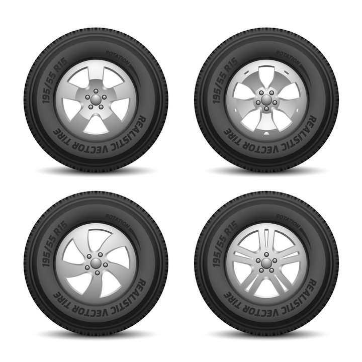 4款汽车轮胎侧面图和不同形状的铝合金轮毂png图片免抠矢量素材