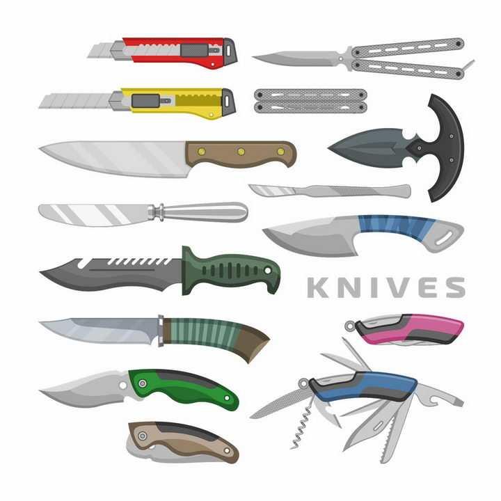 各种匕首小刀瑞士军刀折叠刀美工刀蝴蝶刀等户外旅行装备图片png免抠素材