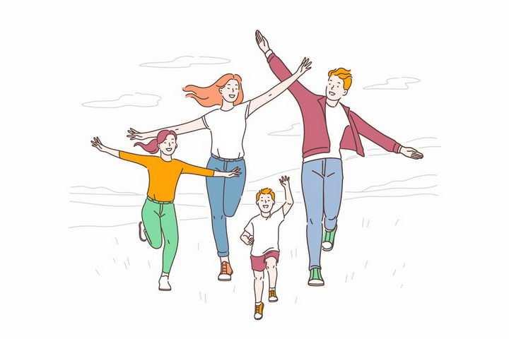 彩色手绘风格快乐奔跑的一家四口幸福一家人png图片免抠eps矢量素材