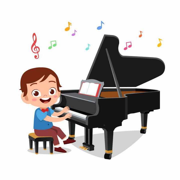 正在学弹钢琴的卡通小男孩png图片免抠矢量素材