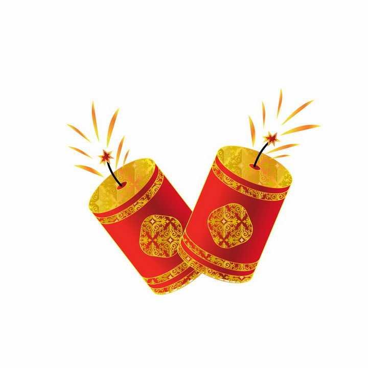两个新年春节喜庆鞭炮装饰图片免抠AI矢量素材