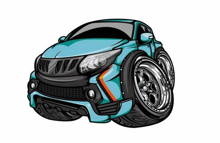 卡通漫画风格天蓝色大脚车越野车png图片免抠矢量素材