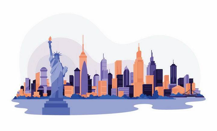 扁平化风格自由女神美国纽约城市建筑天际线png图片免抠矢量素材