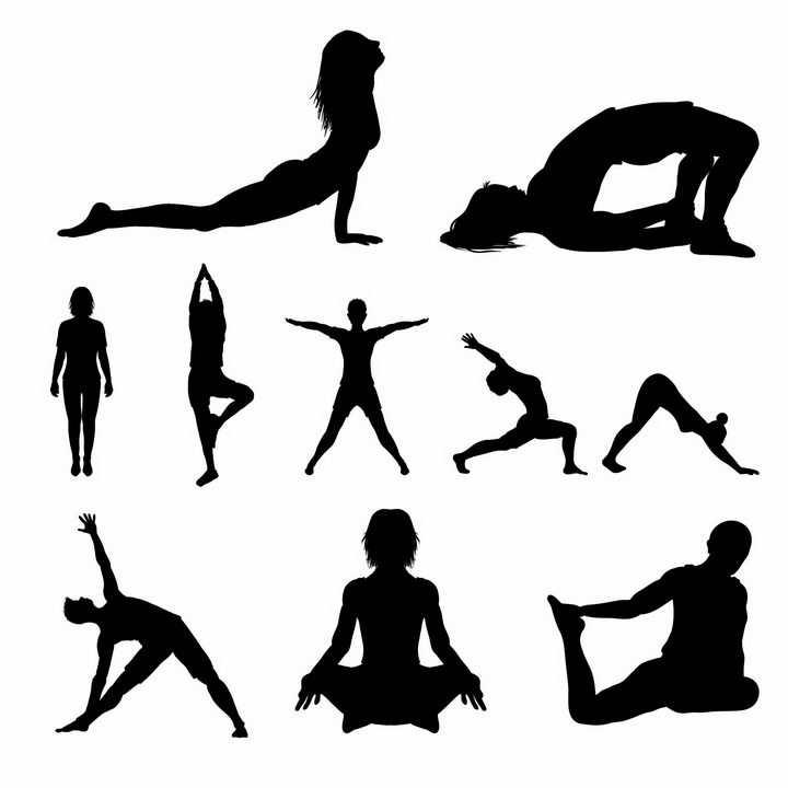 各种摆着瑜伽动作的人物剪影png图片免抠矢量素材