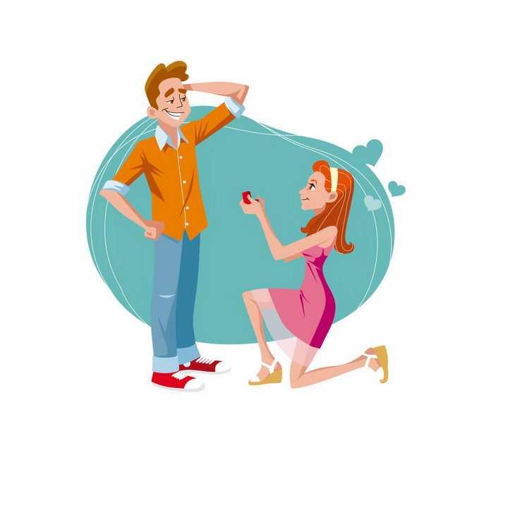 卡通风格单膝下跪向男友求婚的女孩子png图片免抠矢量素材
