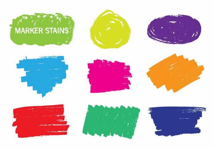 9款手绘涂鸦风格色块文本框背景框png图片免抠矢量素材