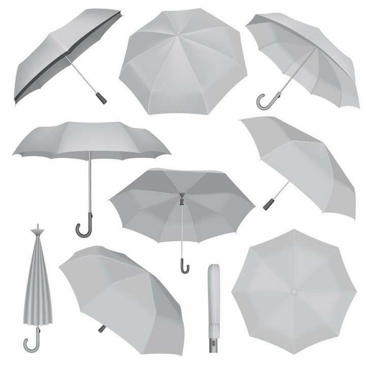 各种不同角度的银灰色雨伞png图片免抠eps矢量素材