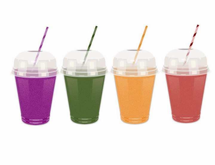 4杯不同的颜色的果汁冷饮饮料png图片免抠矢量素材