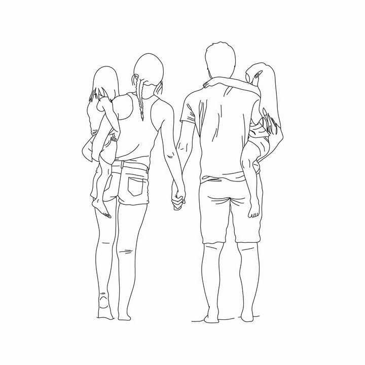 手牵手的一家四口一家人爸爸妈妈抱着孩子手绘线条简笔画png图片免抠矢量素材
