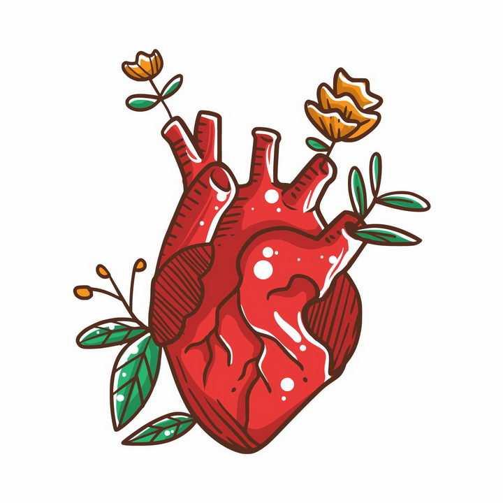 卡通红色心脏上长出了鲜花和树叶png图片免抠矢量素材