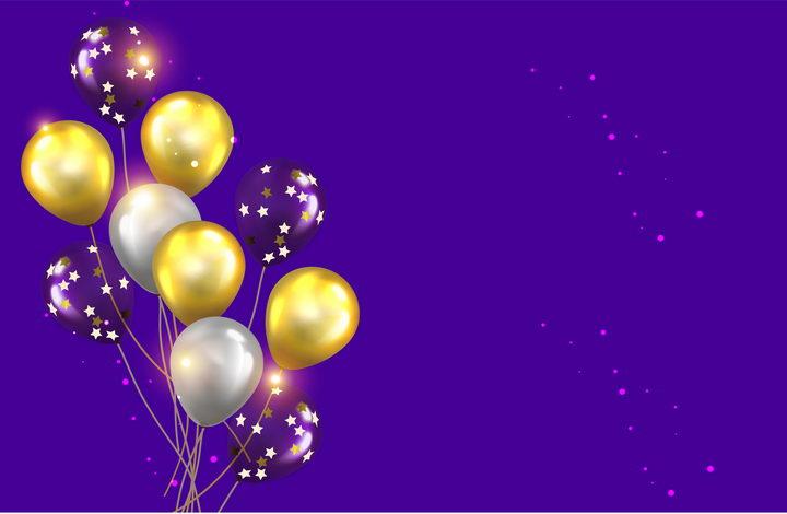 黄色白色和紫色气球及星星装饰图片免抠矢量素材 漂浮元素-第1张