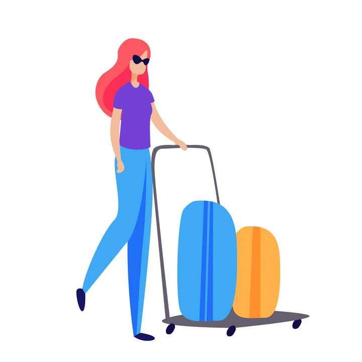 扁平插画风格美女推着推车上面放着两个行李箱png图片免抠矢量素材