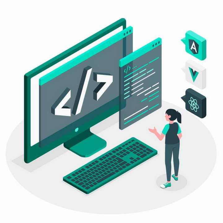2.5D风格站在电脑显示器面前分析代码的程序员png图片免抠矢量素材