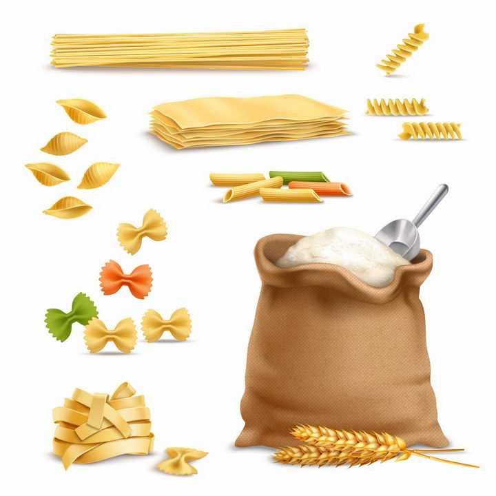 一麻袋小麦面粉和各种面食面条通心粉美食png图片免抠矢量素材