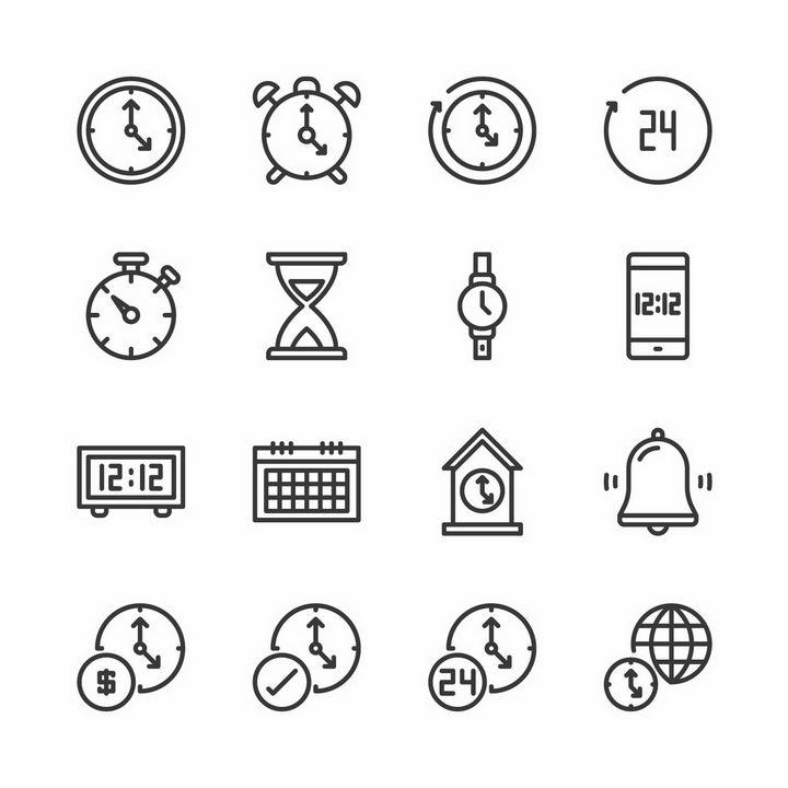 16款黑色线条时钟时间图标png图片免抠矢量素材 图标-第1张