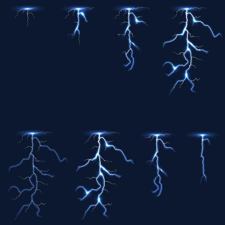 从天而降的蓝色闪电全过程示意图图片png免抠素材