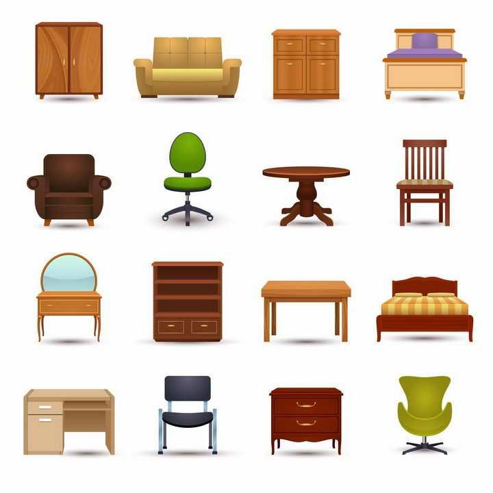 各种电视柜沙发床头柜转椅餐桌梳妆台办公桌等家庭家具装修png图片免抠矢量素材