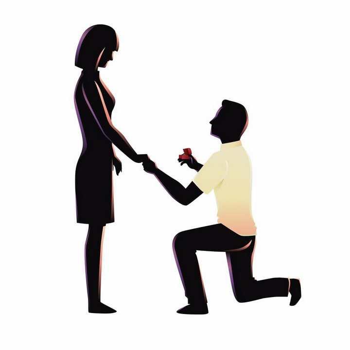 男人单膝下跪牵着女朋友的手递送戒指求婚png图片免抠矢量素材