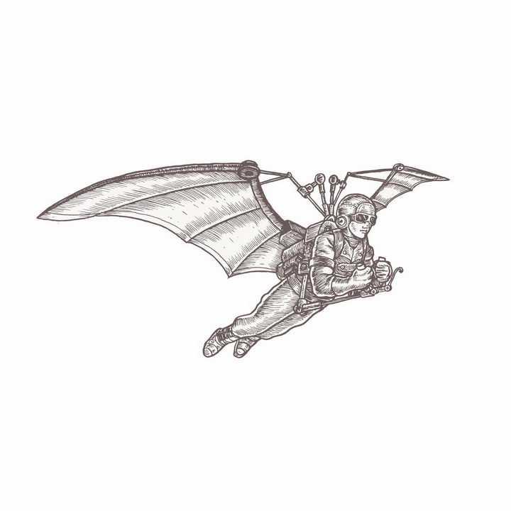手绘素描插图风格装上飞行翅膀的鸟人蒸汽朋克png图片免抠矢量素材