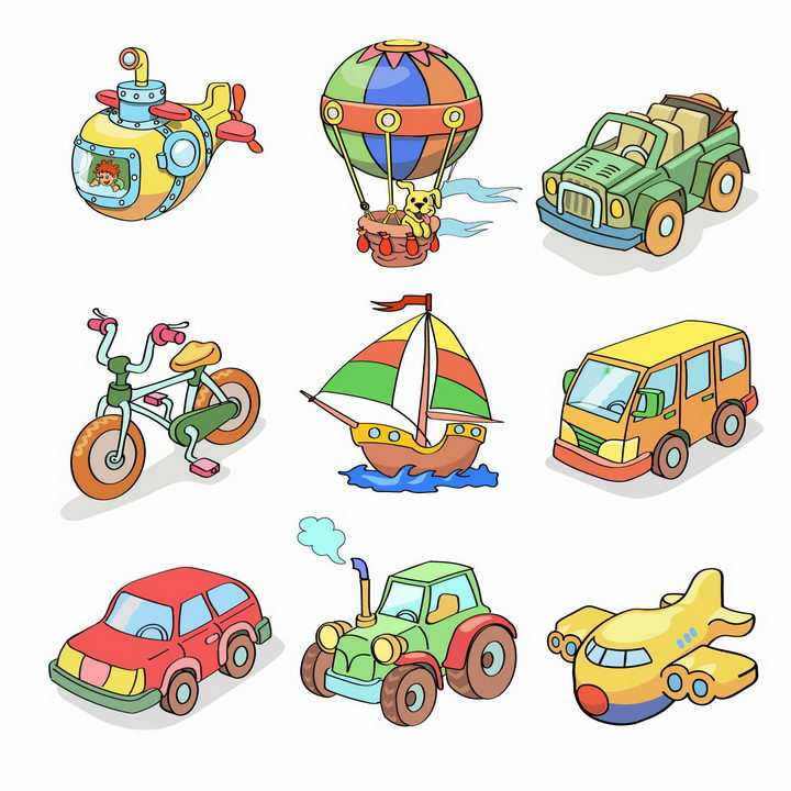 9款卡通风格潜水艇热气球吉普车自行车帆船公交车出租车拖拉机飞机等交通工具png图片免抠eps矢量素材