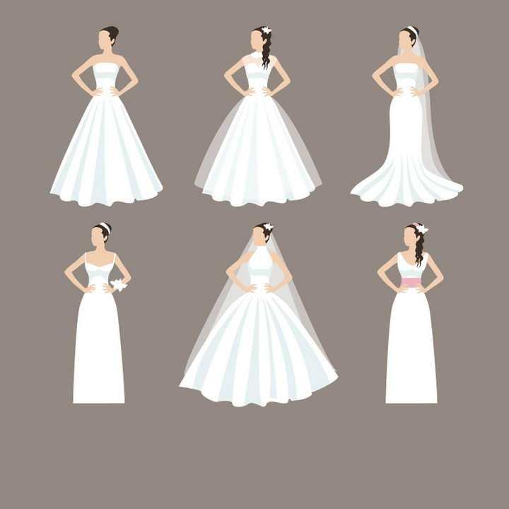 6款扁平化风格身穿白色婚纱的新娘png图片免抠矢量素材