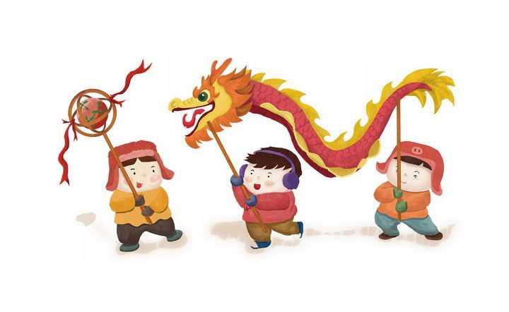新年春节玩卡通舞龙表演的人群png图片免抠素材