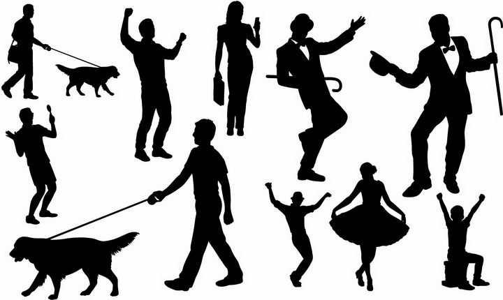 正在遛狗跳舞看手机的人物剪影png图片免抠矢量素材
