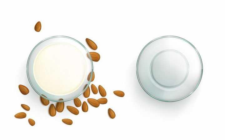 放在玻璃碗中的杏仁牛奶png图片免抠矢量素材
