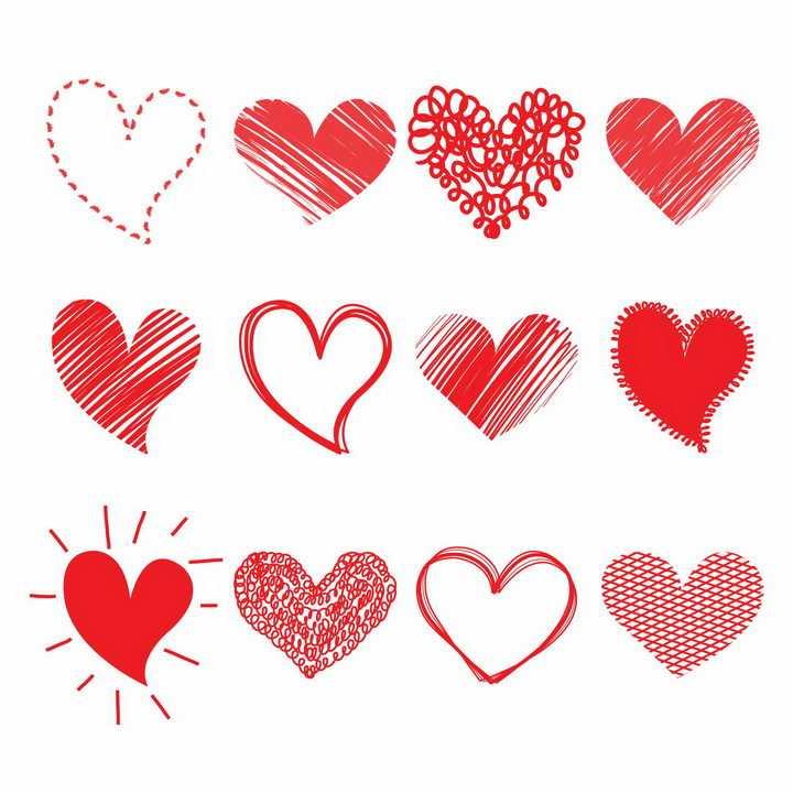 12款手绘涂鸦风格红心心形符号情人节图案png图片免抠eps矢量素材