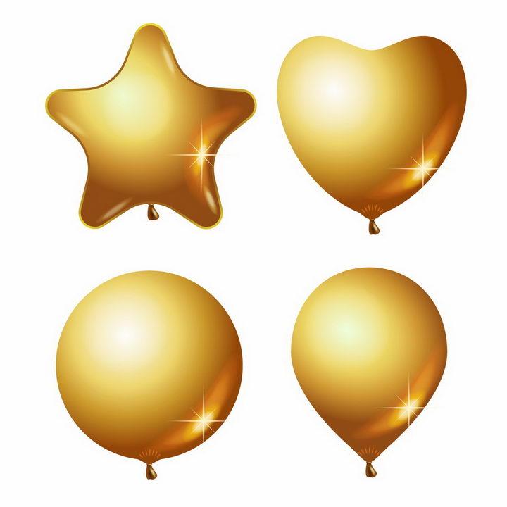 五角星心形和圆形金色气球png图片免抠矢量素材 漂浮元素-第1张