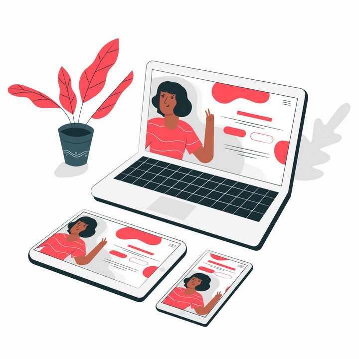 扁平插画风格笔记本电脑平板电脑手机端网页显示响应式布局技术png图片免抠矢量素材