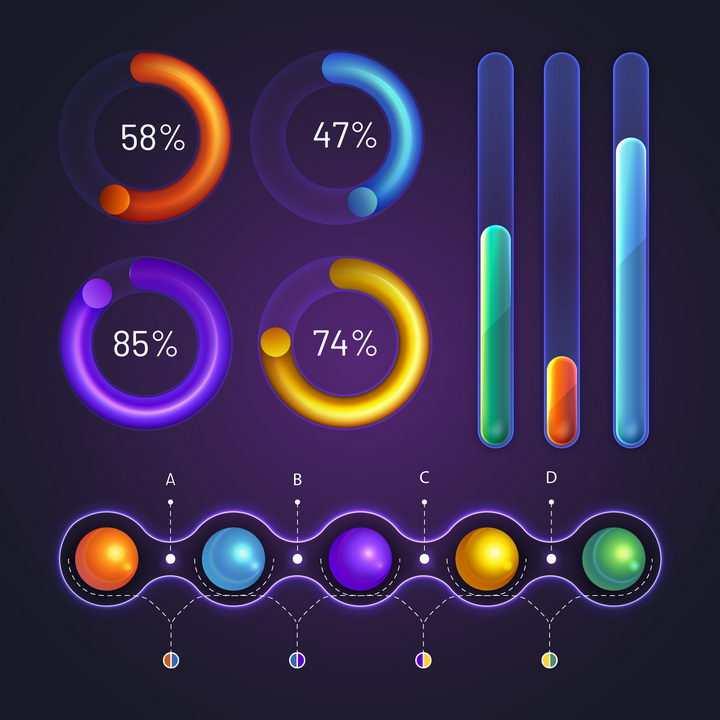 炫丽的环形比例图柱形图流程图步骤图等PPT数据图表png图片免抠矢量素材
