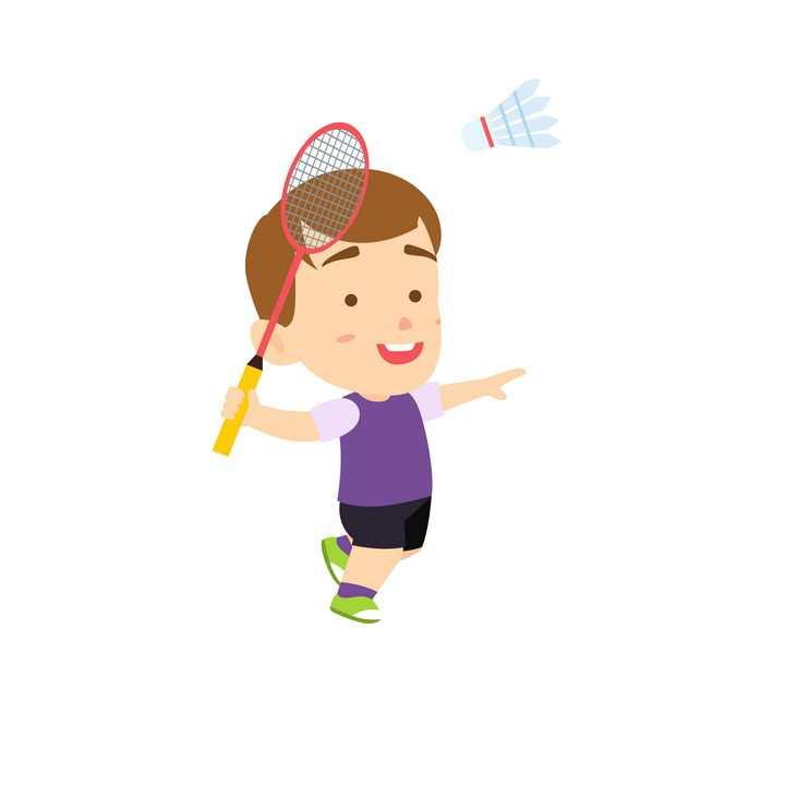 打羽毛球的卡通小男孩png图片免抠矢量素材
