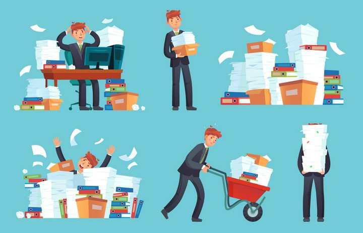 在文件堆中繁重工作的商务职场人士员工png图片免抠eps矢量素材