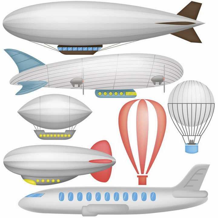 各种造型的飞艇热气球和客机png图片免抠eps矢量素材