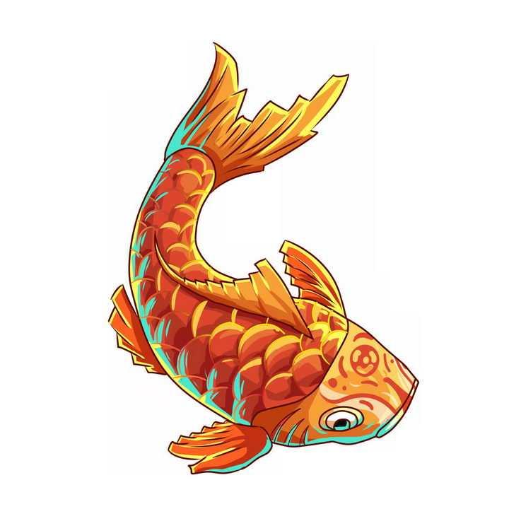 中国风红色金色鲤鱼锦鲤png图片免抠素材