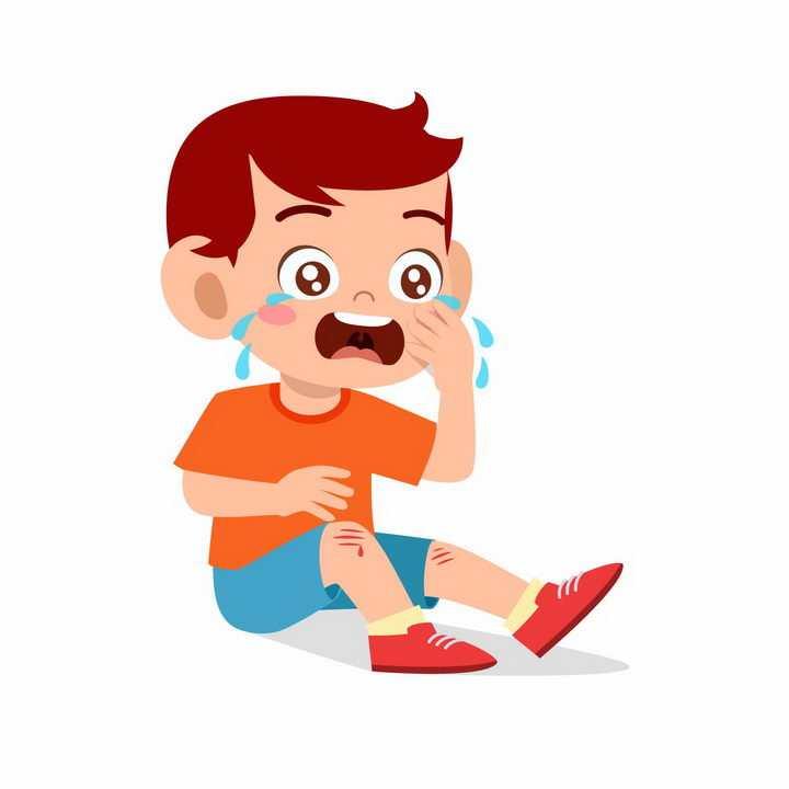 跌倒受伤坐在地上哭泣的卡通小朋友png图片免抠矢量素材