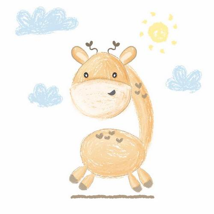 彩绘涂鸦风格可爱的卡通长颈鹿png图片免抠矢量素材