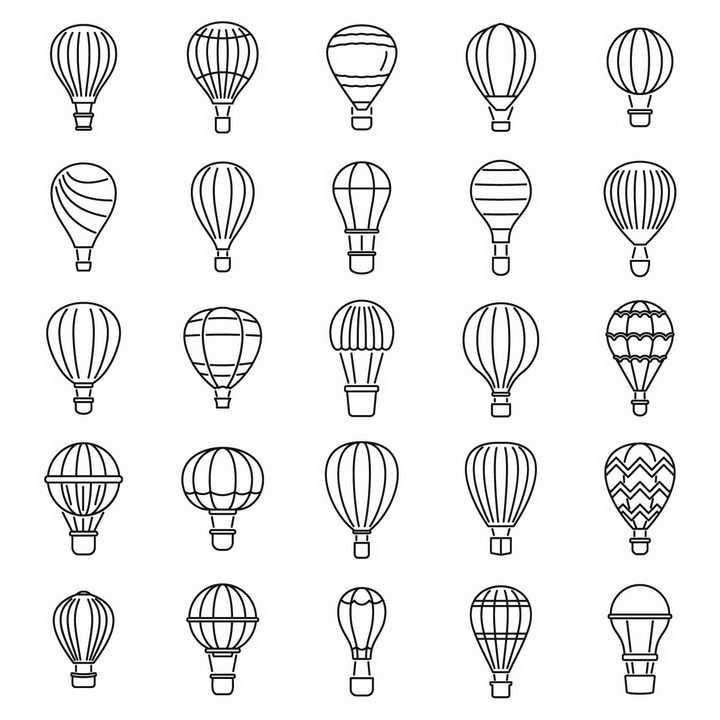 25款黑色线条风格热气球图案png图片免抠eps矢量素材