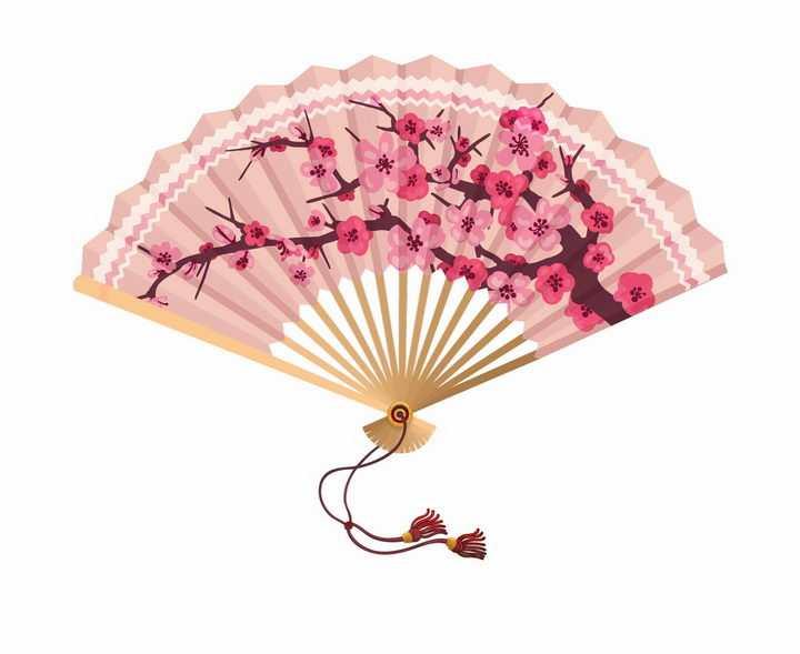 打开的粉色樱花桃花纸折扇png图片免抠矢量素材