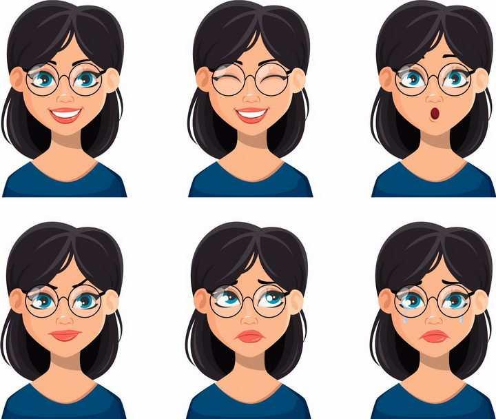 6款不同情绪不同表情的卡通眼镜美女png图片免抠矢量素材