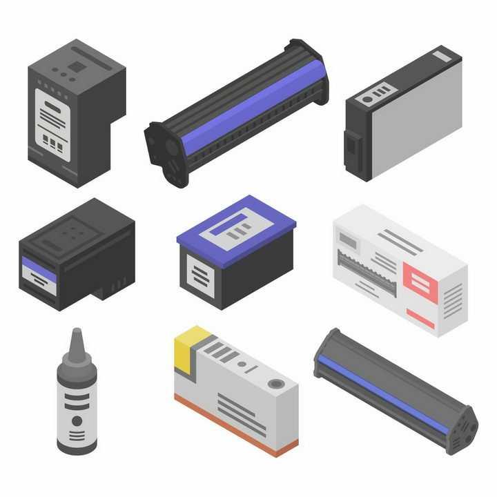 2.5D风格碳粉盒墨粉盒等打印机配件png图片免抠eps矢量素材