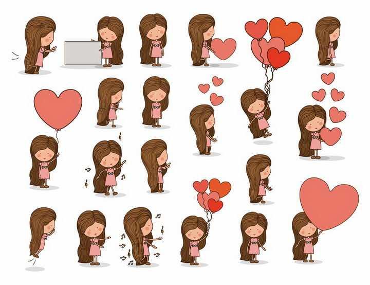 各种拿着心形红心的长发卡通美女png图片免抠矢量素材