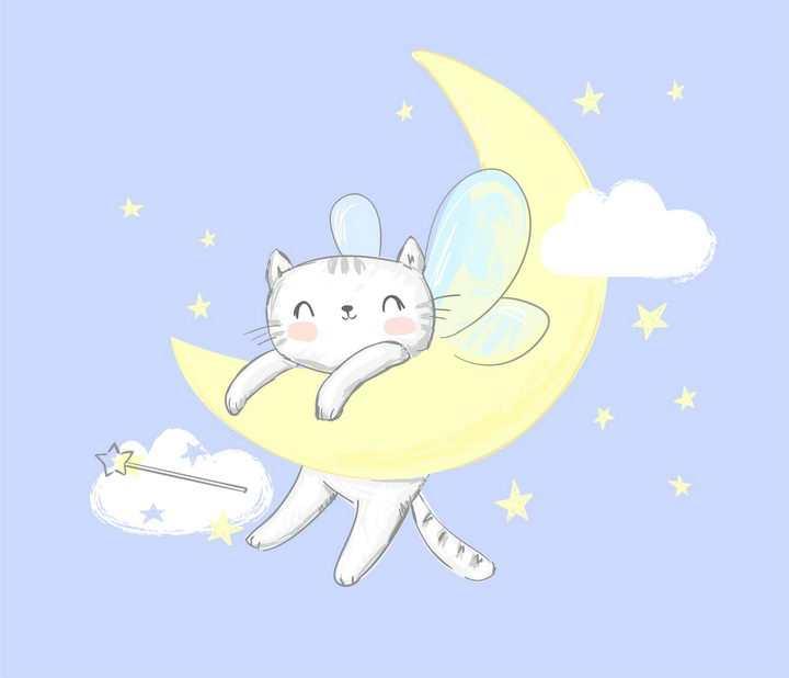 手绘趴在弯弯月亮上的可爱卡通小兔子图片免抠矢量素材