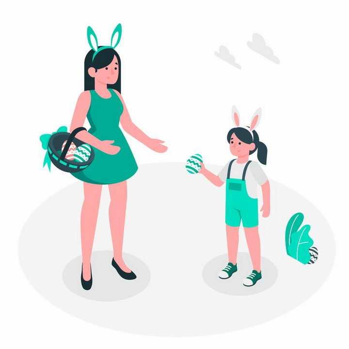 绿色扁平插画风格采摘食物的年轻妈妈和女儿png图片免抠矢量素材