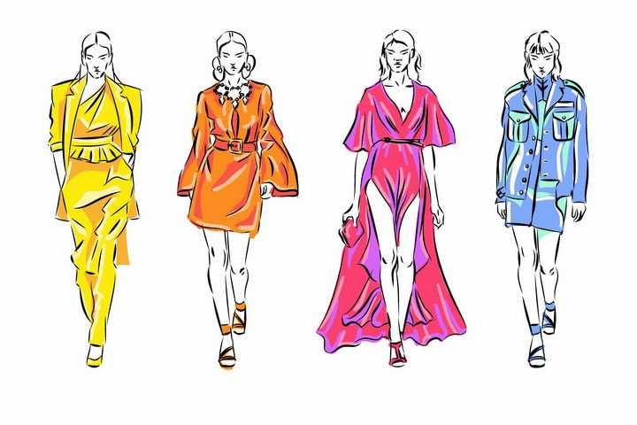 4款彩绘风格时尚女郎女模特png图片免抠矢量素材