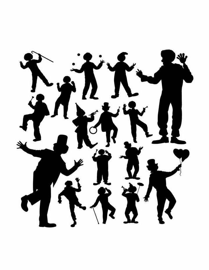 各种马戏团小丑人物剪影png图片免抠矢量素材