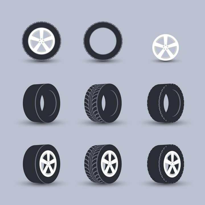 黑色的汽车轮胎和白色的轮毂png图片免抠矢量素材